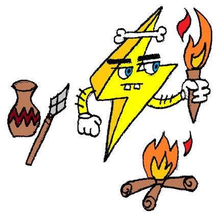 mascote Watt raio amarelo como ser humano primitivo