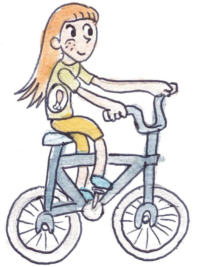 menina em bicicleta com comida na barriga